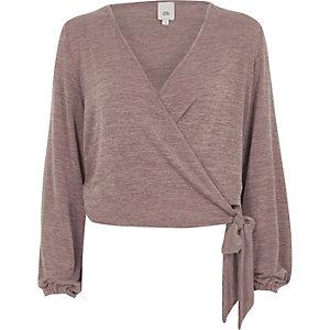 Brown knit wrap ballet cardigan