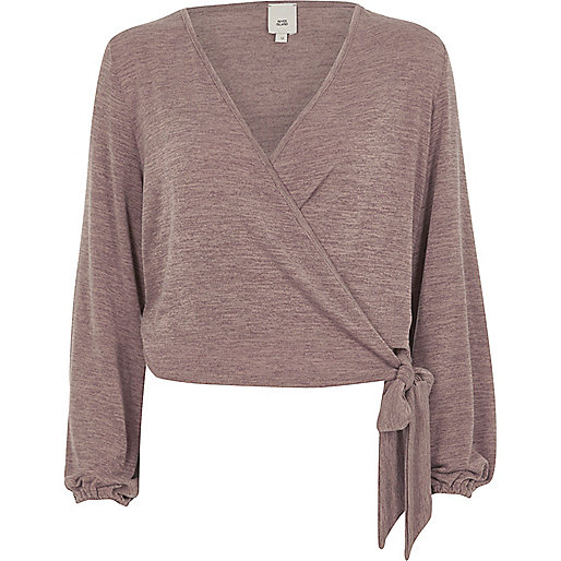 Brown knit wrap ballet top