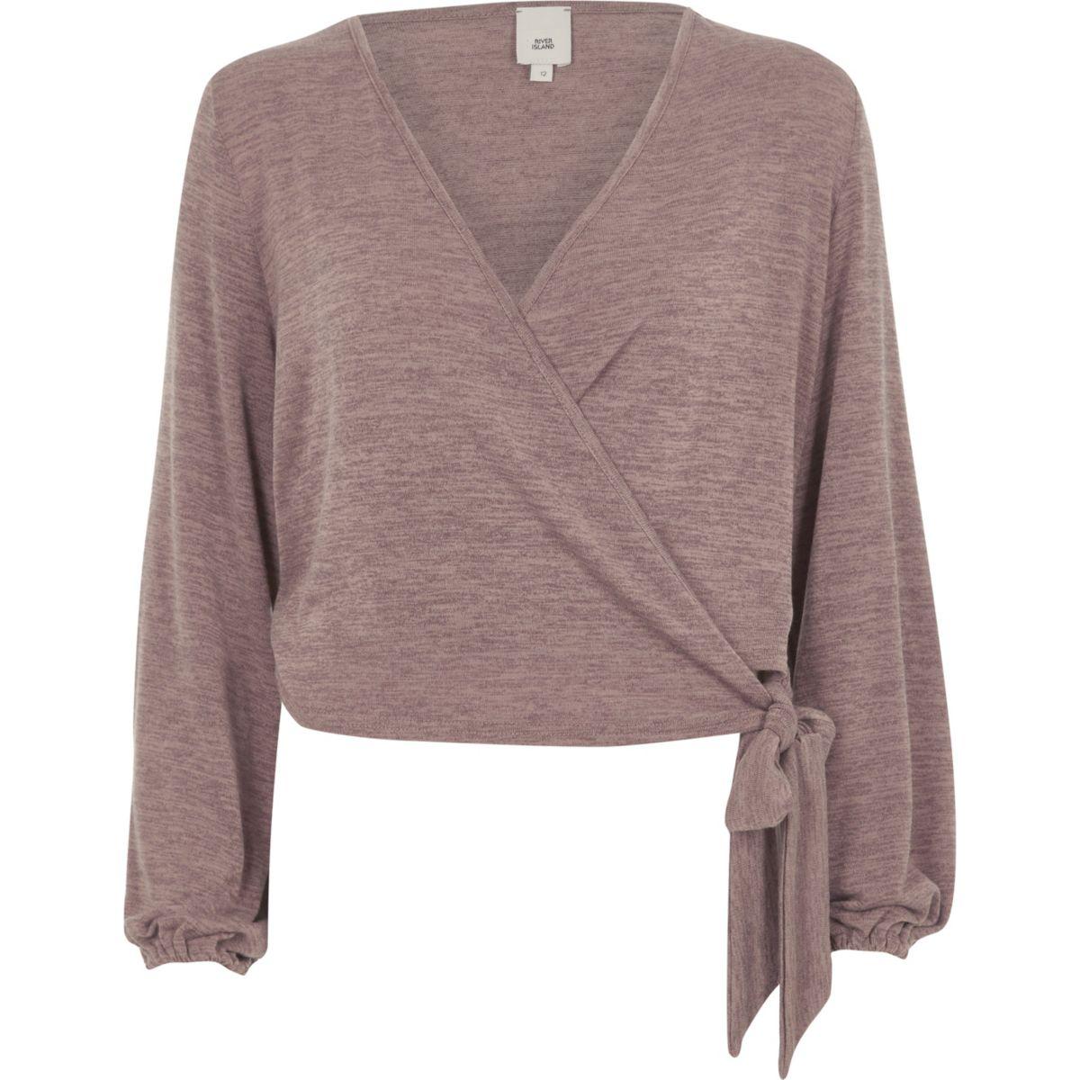 Brown knit wrap ballet top