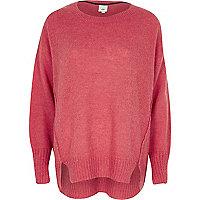 Pink crew neck mohair sweater