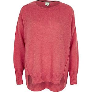 Pinker Mohair-Pullover mit Rundhalsausschnitt