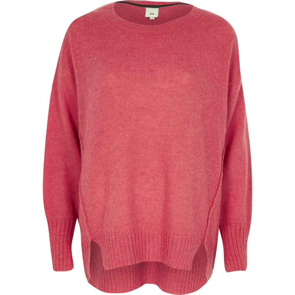 Pink crew neck mohair sweater