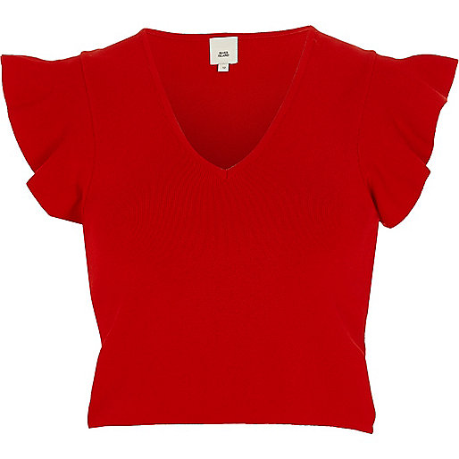 Red V neck frill sleeve knit crop top