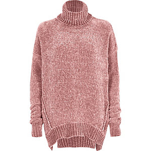 Pink chenille knit oversized roll neck sweater