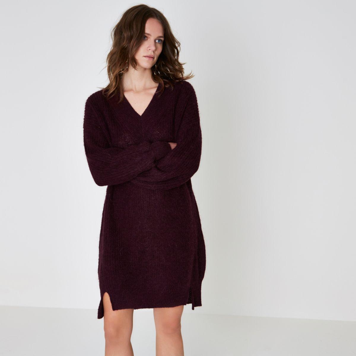 Burgundy V neck knit sweater dress