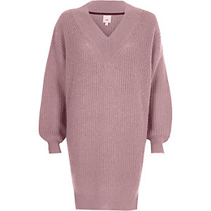 Dusty pink V neck knit jumper dress