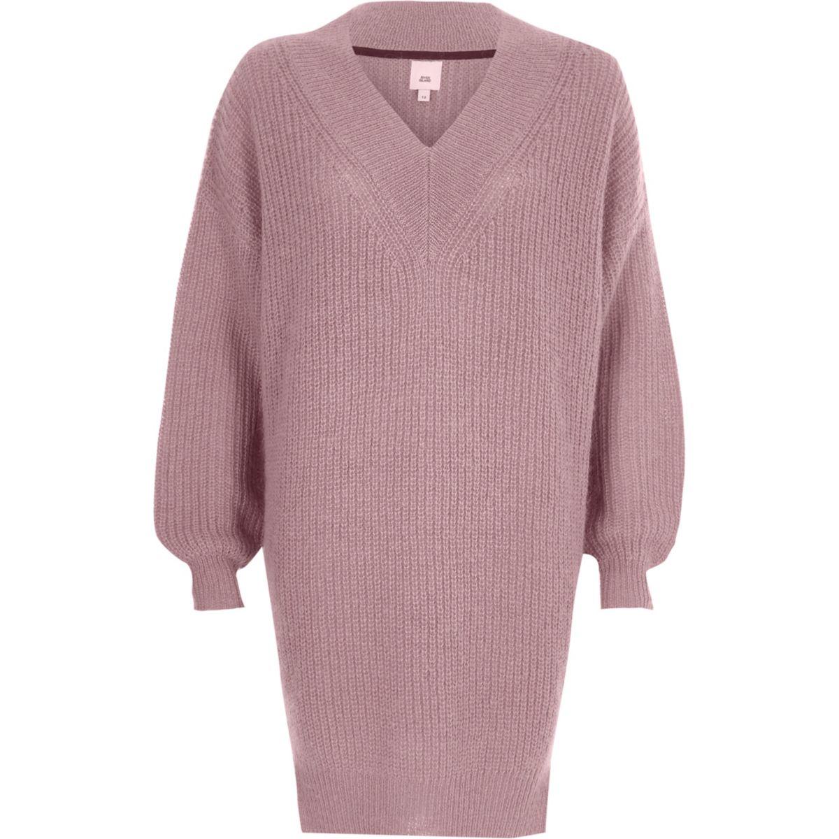 Pulloverkleid aus Strick mit V-Ausschnitt in Altrosa