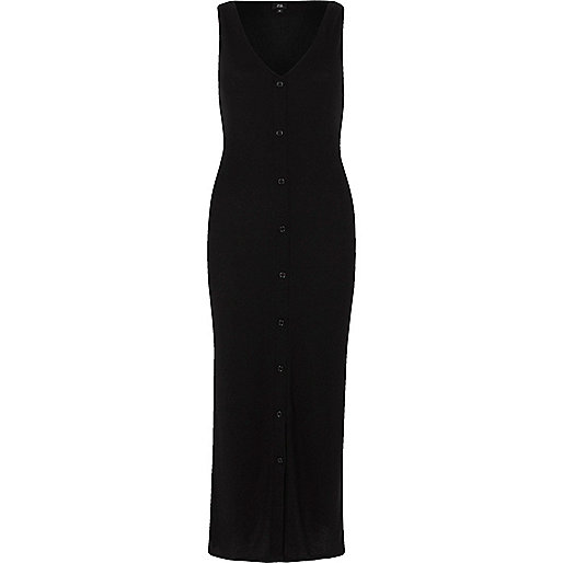Black sleevless ribbed button-up maxi dress