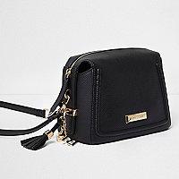 Mini sac à bandoulières noir à pampille