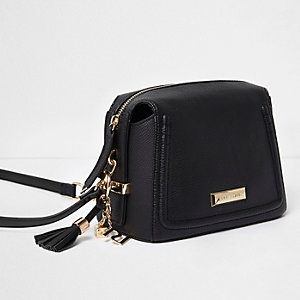 Black tassel mini cross body bag