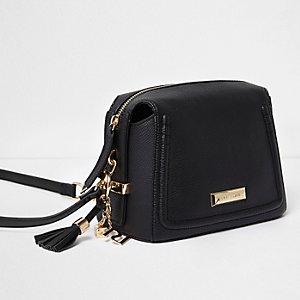 Black tassel mini cross body bag