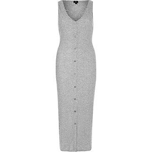 Grijze mouwloze geribbelde maxi-jurk met knopen