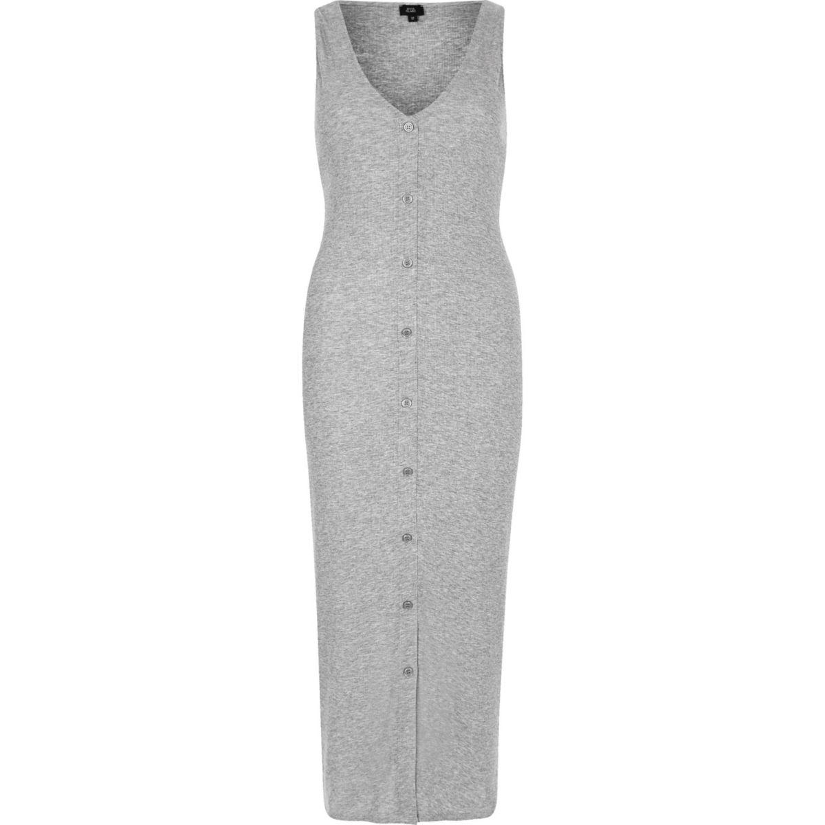 Grey sleeveless ribbed button-up maxi dress