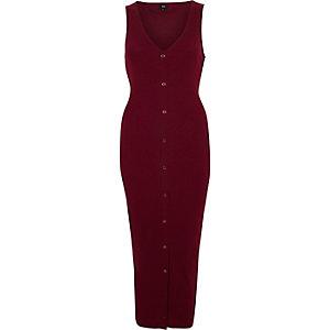 Rode mouwloze geribbelde maxi-jurk met knopen