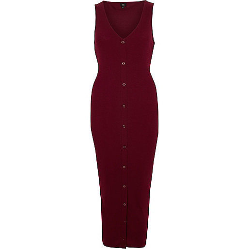 Red sleeveless ribbed button-up maxi dress