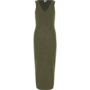 Khaki sleevless ribbed button-up maxi dress