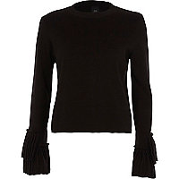 Black high neck pleated sleeve knitted top