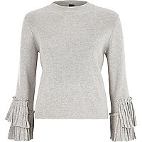 Grey high neck pleated sleeve knitted top