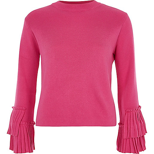 Pink high neck pleated sleeve knitted top