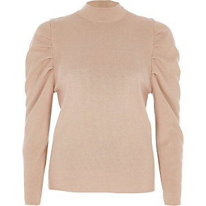 Camel ruched shoulder turtle neck knitted top