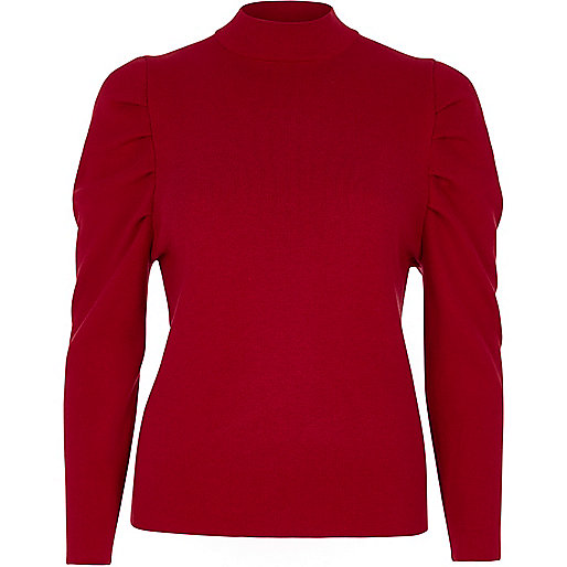 Red ruched shoulder turtle neck knitted top