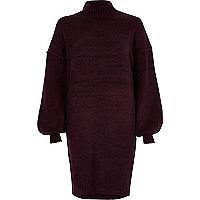 Robe pull violette à manches bouffantes et encolure haute
