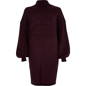 Purple balloon sleeve high neck sweater dress