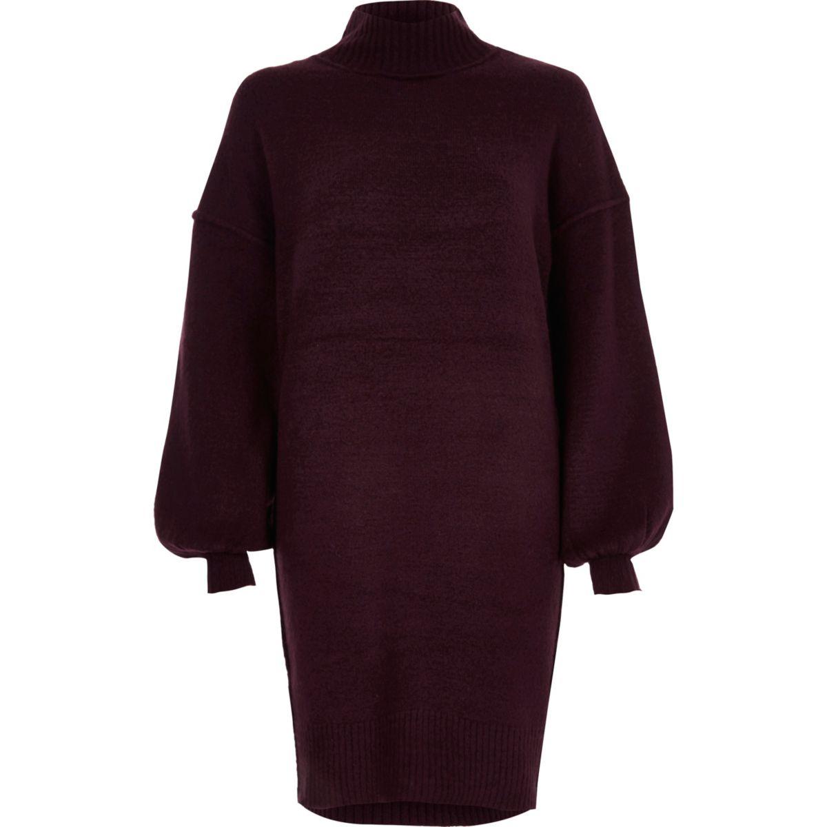 Purple balloon sleeve high neck jumper dress
