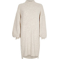 Cream balloon sleeve high neck sweater dress