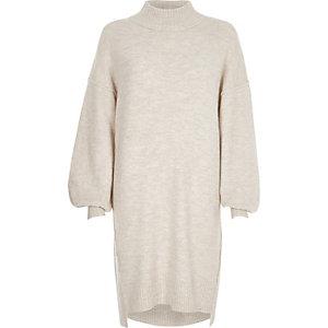 Cream balloon sleeve high neck jumper dress