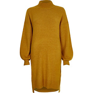 Mustard balloon sleeve high neck jumper dress