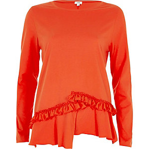 T-shirt orange à manches longues et ourlet à volant fendu