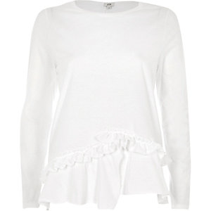 White split frill hem long sleeve T-shirt