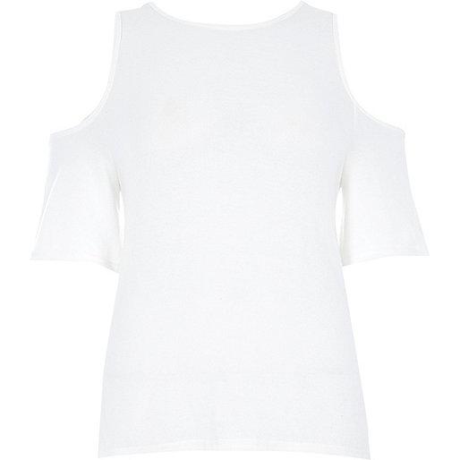 White cold shoulder wrap back top