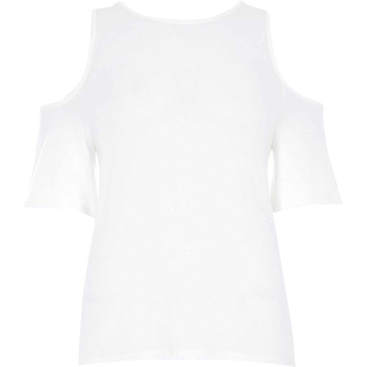 White cold shoulder wrap back top