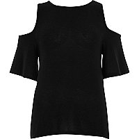Black cold shoulder wrap back top
