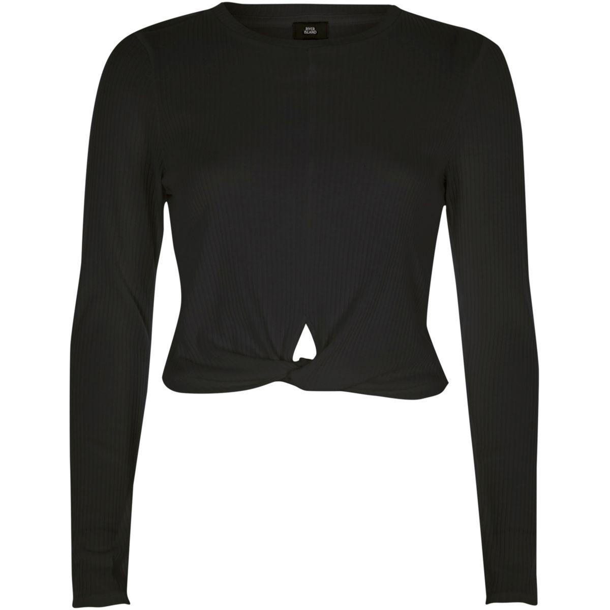 Black twist front long sleeve crop top