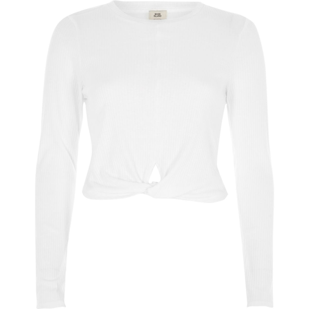 White twist front long sleeve crop top