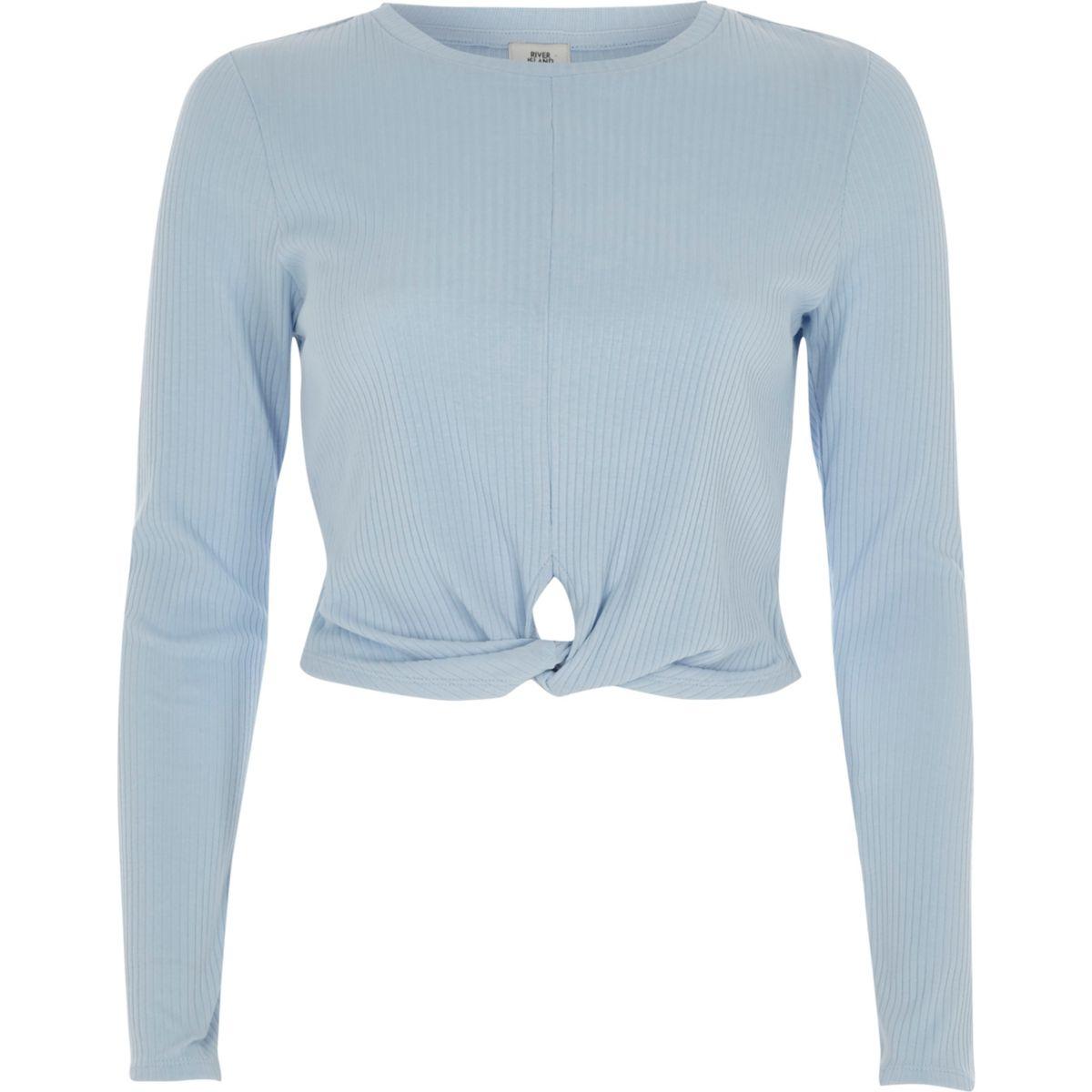 Light blue twist front long sleeve crop top