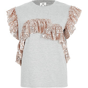 Grey metallic sequin frill T-shirt