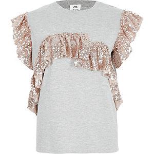 Metallic grijs T-shirt met lovertjes en ruches