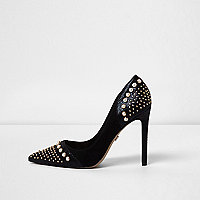 Black faux pearl embellished court shoes