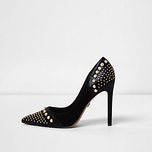 Black faux pearl embellished pumps