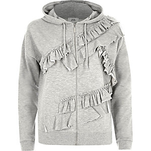 Grey marl frill zip up hoodie