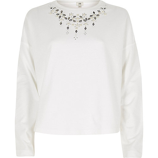 White necklace detail cropped sweatshirt