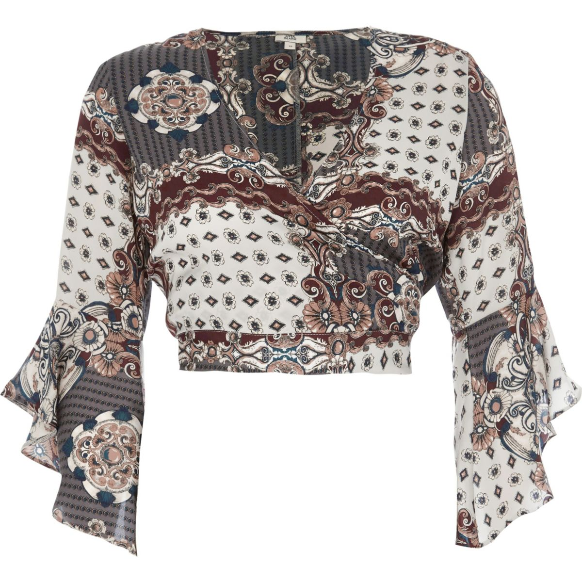 Grey scarf print wrap frill sleeve crop top