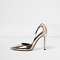 Gold metallic court shoes