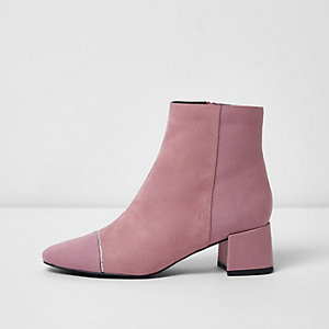 Pink studded toe block heel ankle boots