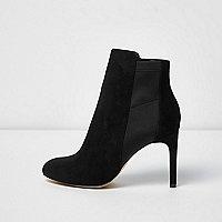 Schwarze Stiefel mit Neopreneinsatz und Stilettoabsatz