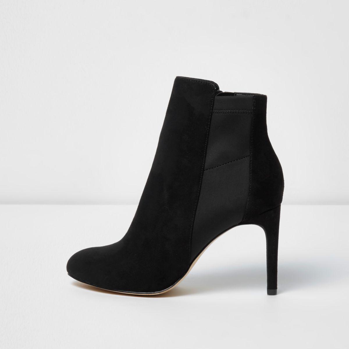 Zwarte laarzen met inzetstuk van scubastof en stilettohakken